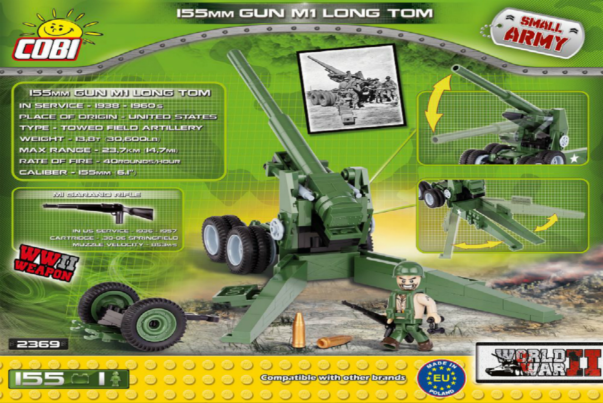 Конструктор COBI 155 mm Gun M1 Long Tom
