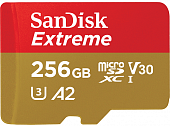 Карта памяти SanDisk Extreme microSDXC Class 10 UHS Class 3 V30 A2 160MB/s 256GB + SD adapter