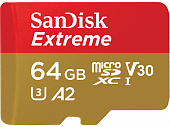 Карта памяти SanDisk Extreme microSDXC Class 10 UHS Class 3 V30 A2 160MB/s 64GB + SD adapter